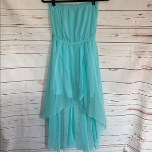 Teal High Low Dress